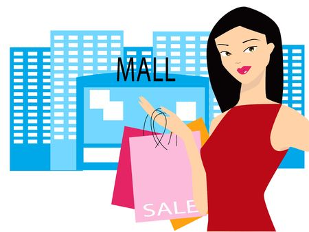 priced: Illustration of a woman carrying shopping bags