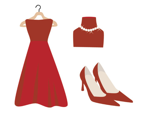 prom: Red Dress and Accessories Illustration