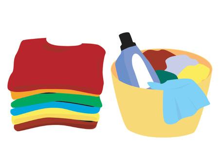 chores: Schone en vuile kleren Stock Illustratie