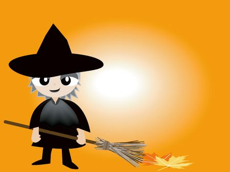 Halloween Costume Series: Kid Witch with Broom Stock Photo - 539887