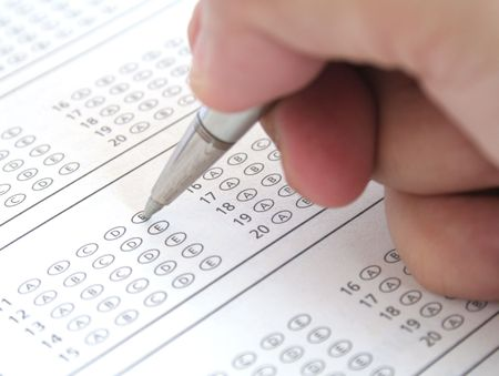 Answering a Multiple Choice Exam photo