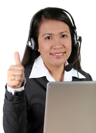 Asian Call Center Agent thumbs up Stock Photo - 740182