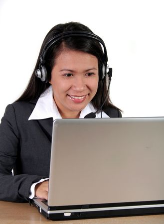 Call Center Agent working with Laptop Stock Photo - 740183