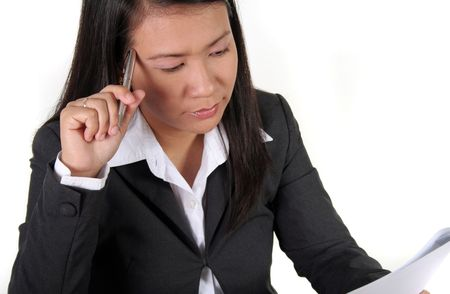 applicant: An Asian Job Applicant thinking Stock Photo
