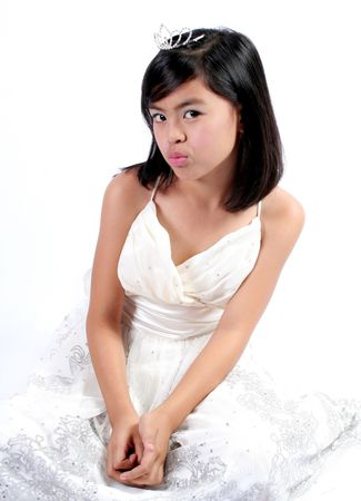 Little Princess Series: Eight Year Old Asian Girl pouting her lips Stock Photo - 907841
