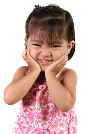 Three Year Old Asian Girl against white background