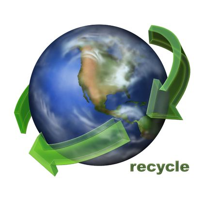 Recycle Icon with Transparent Arrows and Text photo
