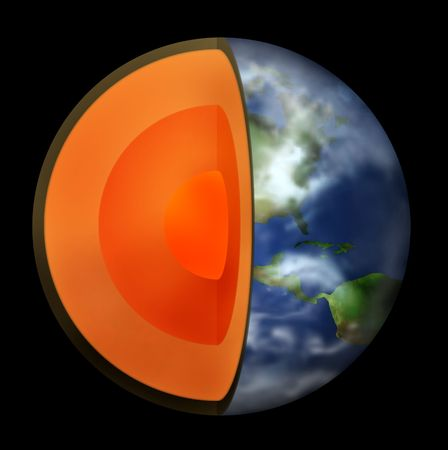 Rendered Earth with its interior exposed Stock Photo - 1201199