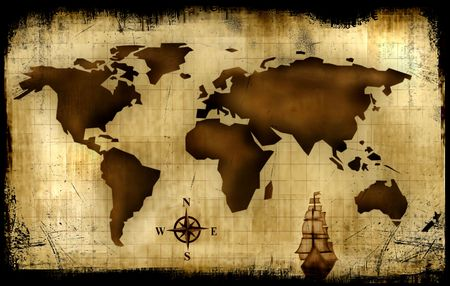 middle america: Old World Map Background - Abstract