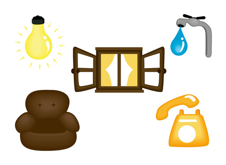 Real Estate Icons - Electricity, Furnitures and fixtures etc Vector