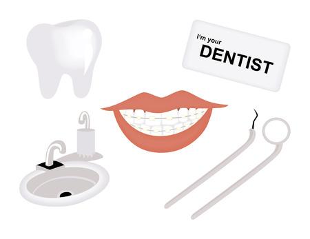dental braces: Iconos de Odontolog�a  Vectores