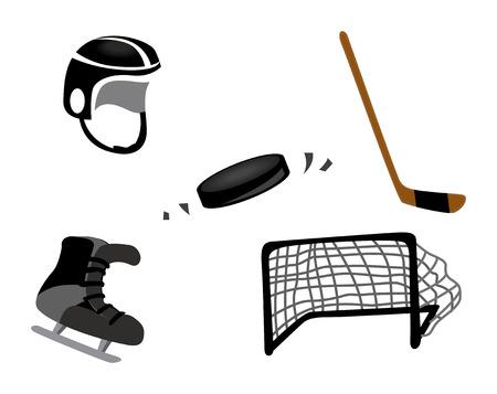 puck: Ice Hockey Icons Illustration