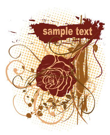 Rose Grunge Design  Illustration