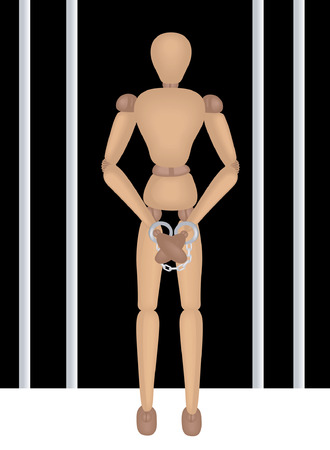 Mannequin Series: Opened Prison Gate, Mannequin with Handcuffs Vector
