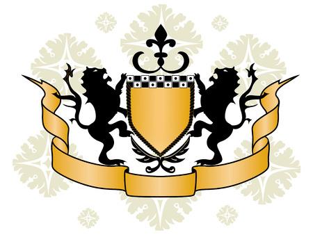 ribon: Shield Design Elements - Shield, Ribbon, Lions