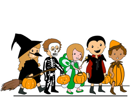 Kids walking in Halloween Costumes Vector