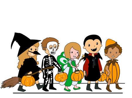 Kinderen lopen in Halloween Kostuums Vector Illustratie