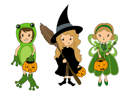 Kids in Halloween Costume Vector
