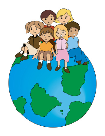 world group: Children on Top Illustration
