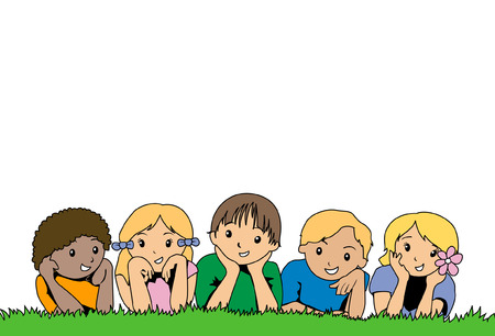 Kids on the Grass Illustration Stock Vector - 1780174