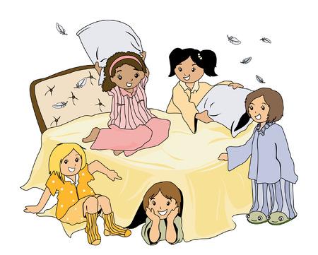 cushions: Pajama Party Illustration