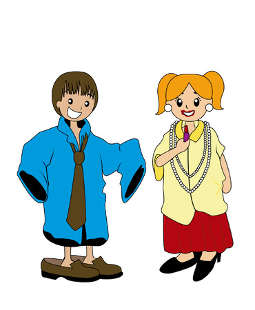 Illustration of Kids Playing Dress Up Vector