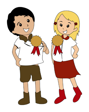achievement clip art: Illustration of Kids with Awards Illustration