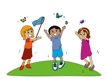 catching: Illustration of Kids Catching Butterflies