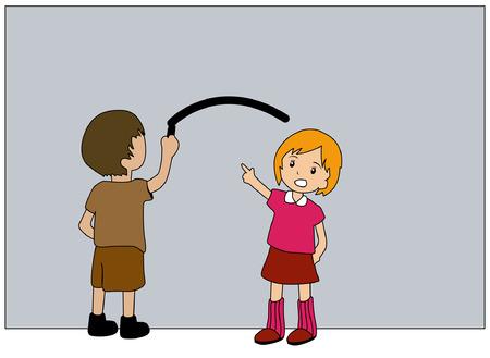ni�os malos: Ilustraci�n de un hijo de escritura en la pared Vectores