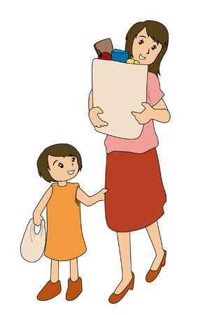 household chores: Illustration of Mother and Daughter with Groceries