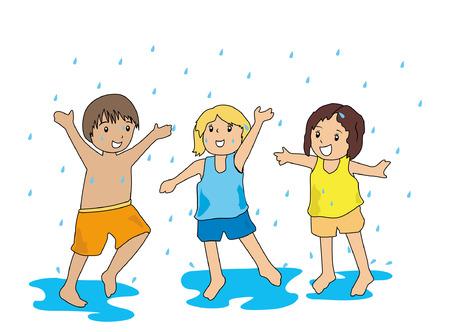 Ilustraci�n de ni�os jugando en la lluvia Foto de archivo - 1780208