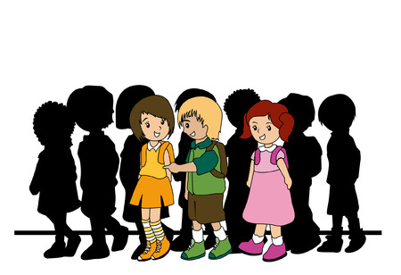 Illustration of Preschoolers walking to school Vector