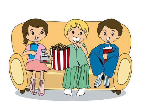 watching television: Illustration of Kids watching TV Illustration