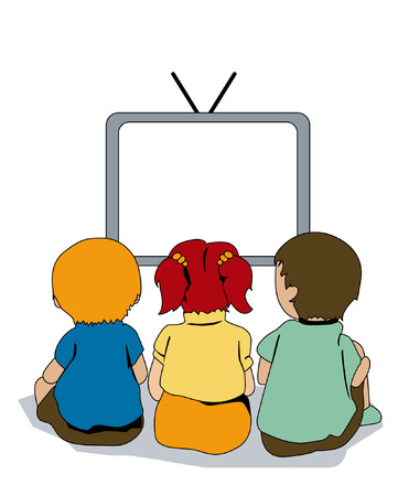 Illustration of Kids watching TV Illustration