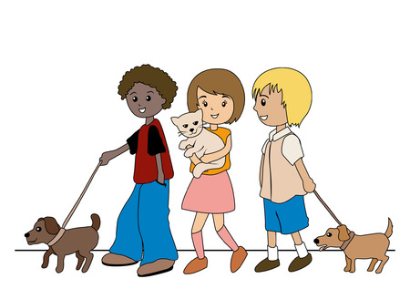 Illustration of Kids walking their pets Illustration