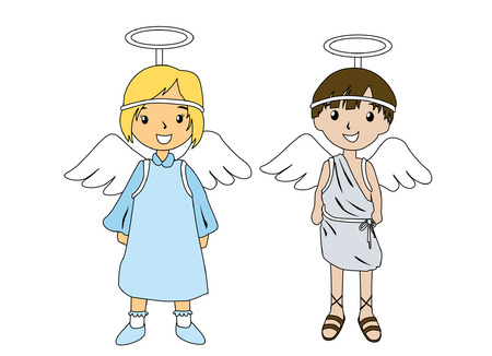 Illustration of Kids in Angel Costumes Vector