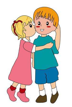 blushing: Illustration of a Girl kissing a blushing Boy