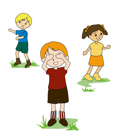 Illustration of Kids Playing Hide and Seek Vector