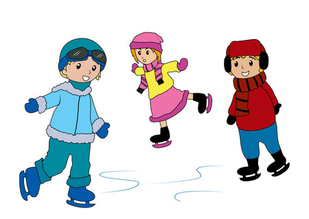 Illustration of Kids skating on ice Illustration