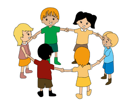 circle of friends: Illustration of Kids in Circle