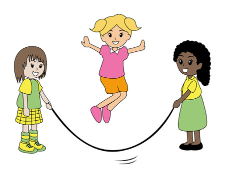 rope vector: Illustration of Kids playing jumping rope
