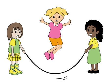 saltar la cuerda: Ilustraci�n de ni�os jugando saltar la cuerda