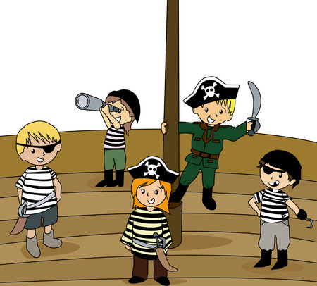 Illustration of Kids in Pirate Clothes