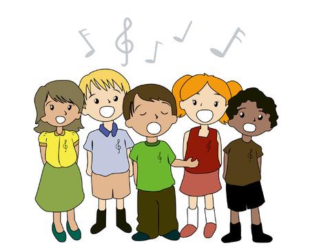 Ilustración de niños cantando