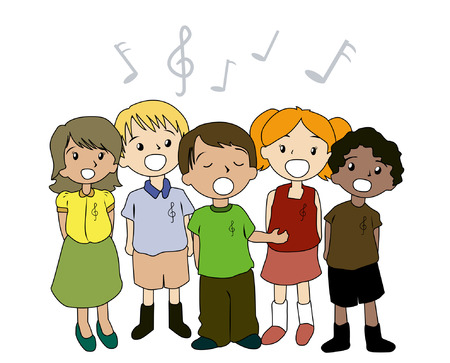 cantando: Ilustraci�n de ni�os cantando