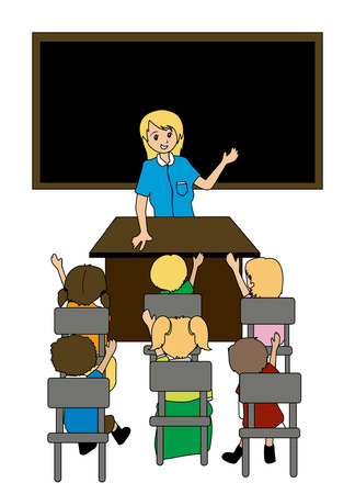 Illustration of a Teacher and students Stock Vector - 1780206