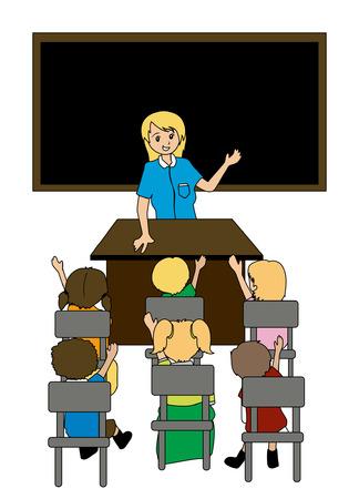 profesores: Ilustraci�n de un maestro y los estudiantes