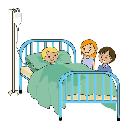 Illustration of Kids visiting sick friend