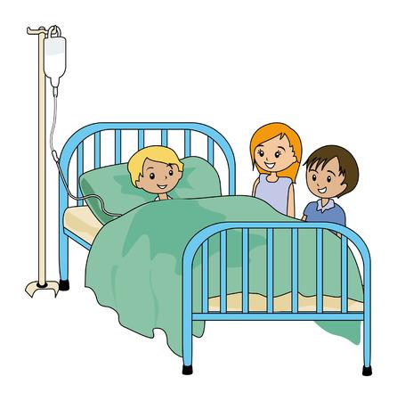 hospital dibujo animado: Ilustración de niños enfermos de visita amigo