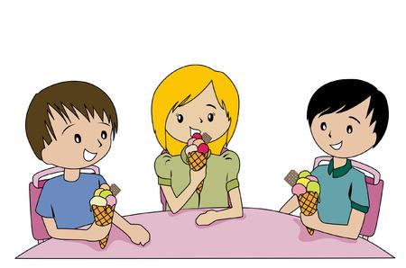 Illustration of Kids eating Ice Cream Illustration